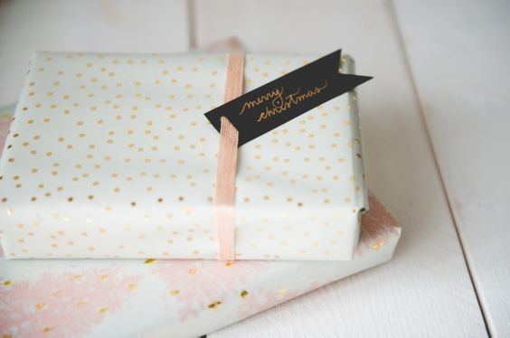 Christmas wrapping - a pink and gold Christmas!