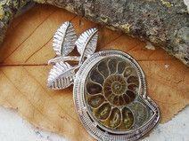 Ammonit Fossil, Blatt, Anhänger, Silber plattiert