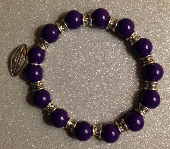 Ceramic Purple Beads w/Football Charm & Silver Spacer