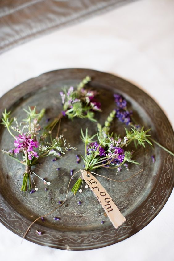 Buttonholes Lilac Wild Groom Groomsmen Natural Ethereal Purple Wedding http://www.katherineashdown.co.uk/