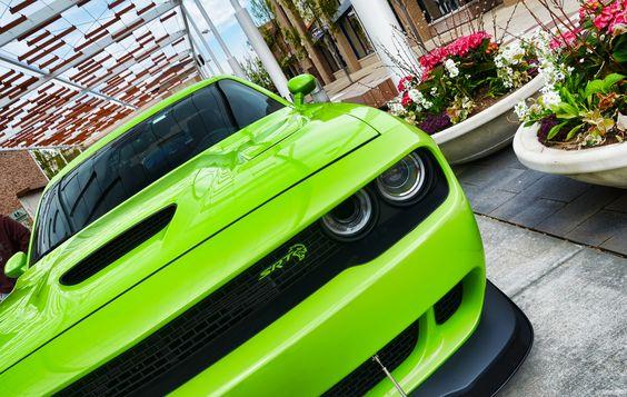 "A sublime colored 2015 Dodge ""Hellcat"" SRT Challenger - nicely modded grill emblem"