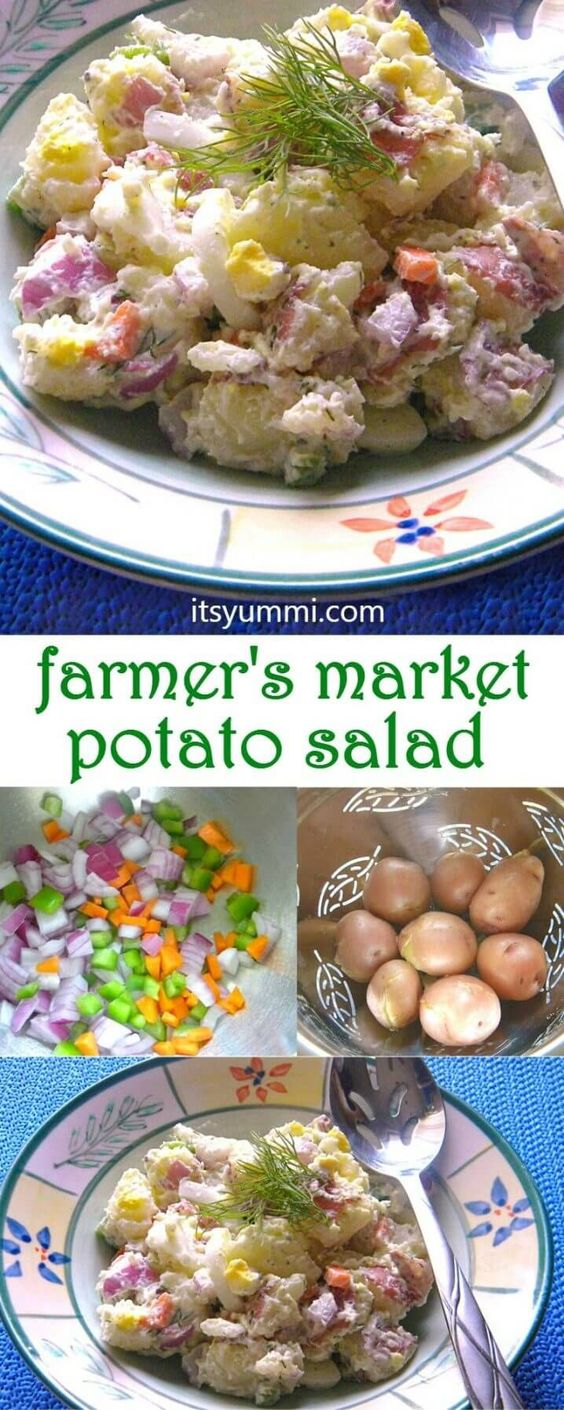 Farmer's Market Potato Salad is a quick, easy, and delicious vegetarian side dish, made with fresh vegetables from your local farmer's market or your vegetable garden!