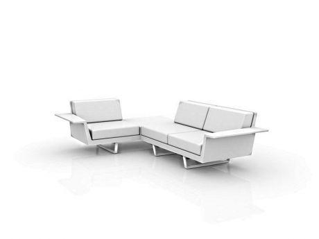 Vondom 66016 Eck Sofa mit integriertem Tisch Flat 3 Sitzer rechts Freisteller