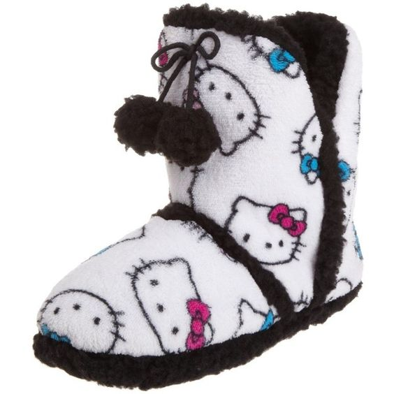 Hello Kitty Junior's Superplush Bootie with Pom Pom and Sherpa ($20) ❤ liked on Polyvore