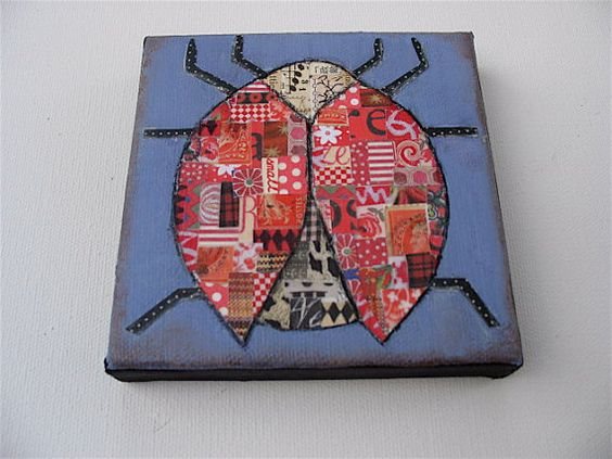 Lucky LadyLadybug artOOAK insectred lavender collage. by luckduck