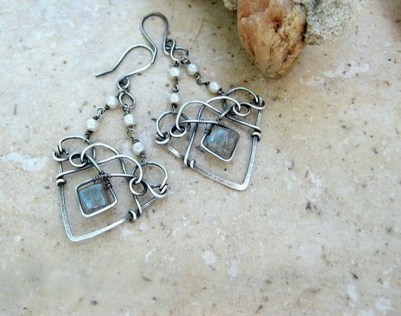 WOW Labradorite earrings in sterling with by EdisLittleTreasures, $72.00 LOVE LOVE! Had to share!