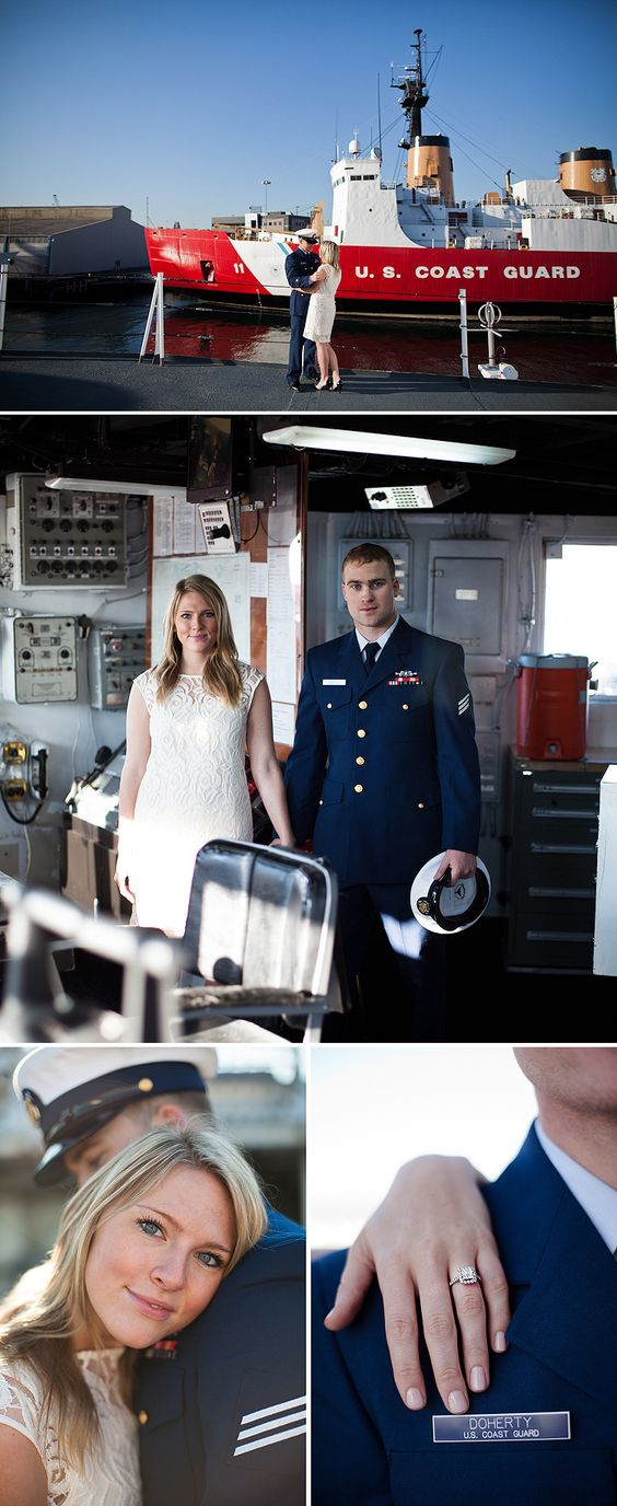 Kirsten and Brett - a Coast Guard engagement in Seattle | photo by Kelly Stonelake