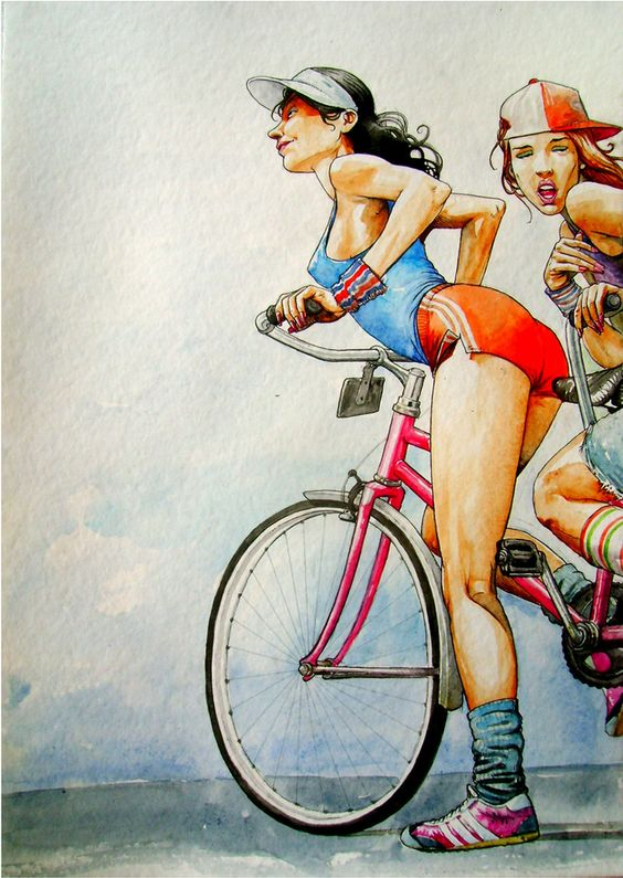 Old School Girls on Bikes Graphic Illustration
