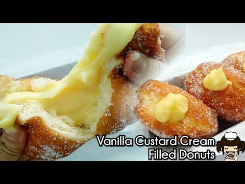 Vanilla Custard Cream Filled Donuts Donat Isi Vla Vanilla Youtube Donat Isi