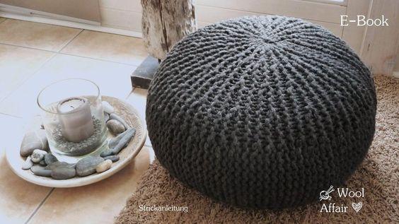 pouf chunky knitting pattern  E-Book Strickanleitung Grobstrick Sitzkissen - Pouf - Puff -selbst gemacht!
