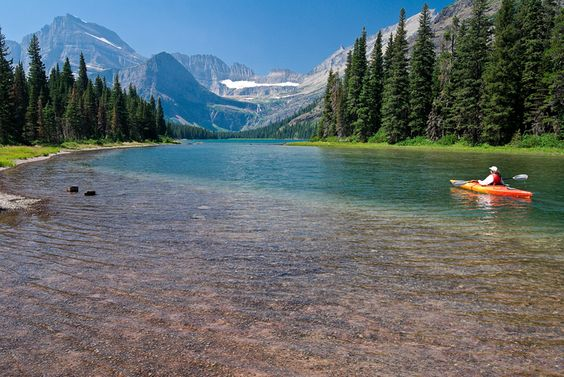 Lake Josephine in Glacier National Park, Montana- would love to Kayak there!