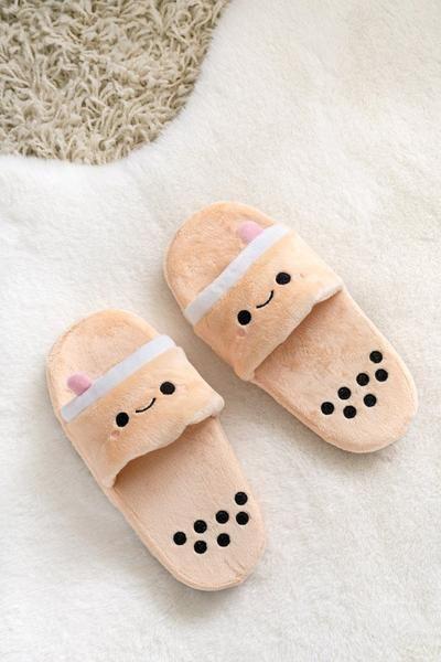 Pearl Boba Tea Plush Slides Cute Slippers Boba Tea Kawaii Room