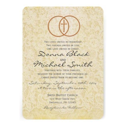 Vintage Lace Religious Wedding Invitations