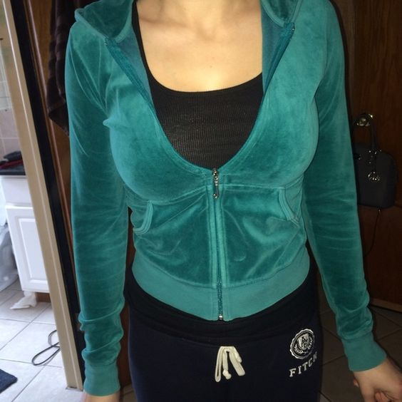 Teal Juicy Couture Hoodie Size Small In great condition. There are no stains or tears. Size small. Juicy Couture Tops Sweatshirts & Hoodies
