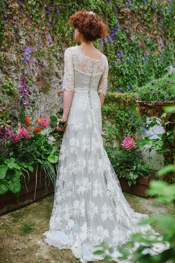 Pale green lace Edwardian inspired wedding dress by Joanne Fleming Design
