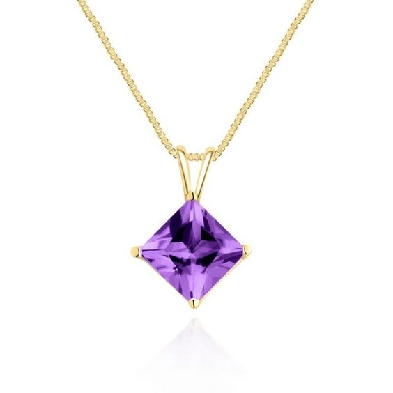 Belk  Co. Amethyst 14K Yellow Gold Amethyst Pendant ($270) ❤ liked on Polyvore featuring jewelry, pendants, amethyst, enhancer pendant, charm pendant, amethyst jewelry, gold jewelry and 14 karat gold pendants