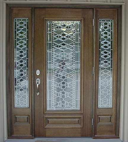 Stained glass front entry door with side panels front for Unique exterior french doors