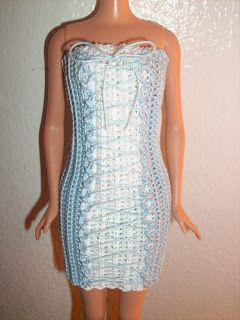 Blue Lace Up Dress - Crochet for Barbie (the belly button body type)