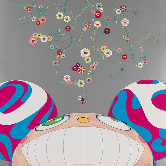DOB Flower  offset lithograph by Takashi Murakami, 2001