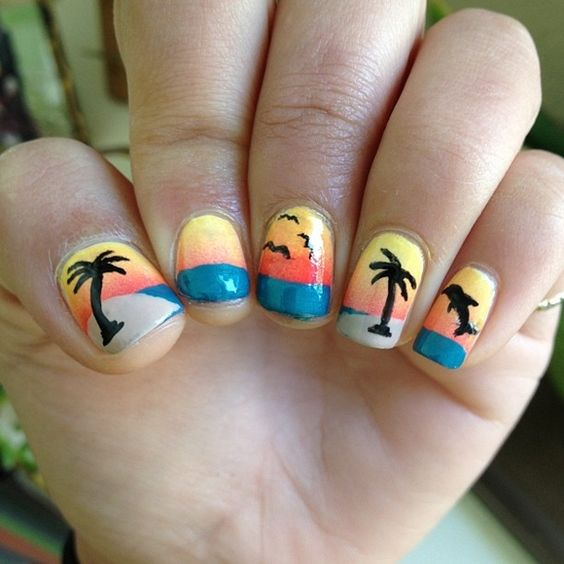 Celebrate Summer With These 42 Palm Tree Nail Designs