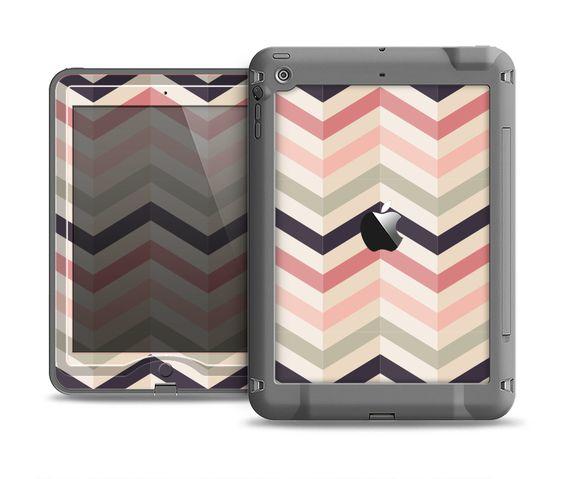 The Pink-Tan-Black Zigzag Pattern Apple iPad Air LifeProof Nuud Case Skin Set