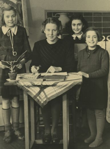 Anne Frank at the Montessori school in 1940. She is 11 years old.