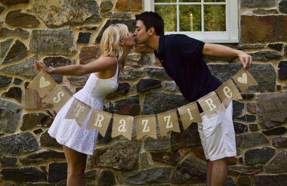 LAST NAME Burlap Bunting, Banner, Photo Prop, Wedding Decor. $20.00, via Etsy.