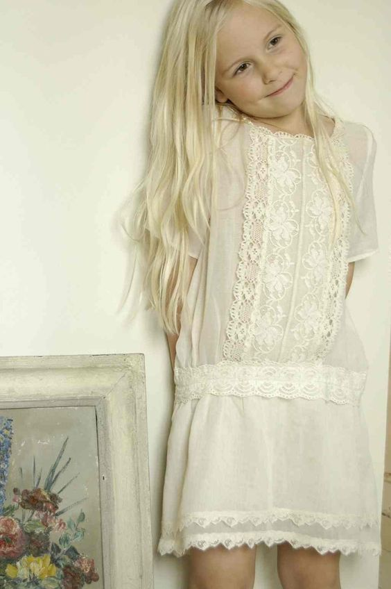 Beautiful white lacey dress. #designer #kids #fashion