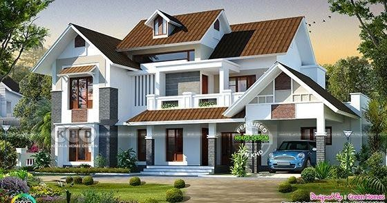 Beautiful 4 Bedroom Sloping Roof 2800 Sq Ft Home Bungalow House Design Beautiful House Plans Kerala House Design