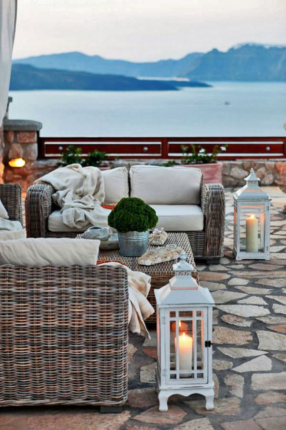 Santorini Patio Furniture: Late Afternoon In Akrotiri, Santorini.. Love The Lanterns