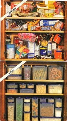 Photo only blog removed - organized kitchen cupboards with Tupperware