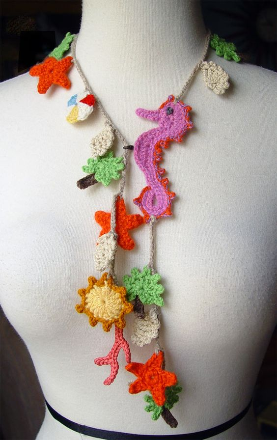 Crochet tropical necklace by ~meekssandygirl on deviantART