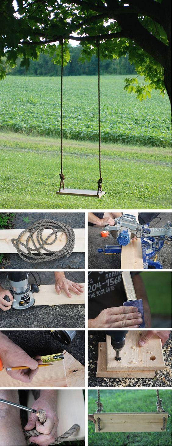 DIY Tree Swing | Backyard Play Area Projects by DIY Ready at http://diyready.com/easy-backyard-projects/