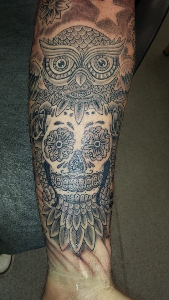 sugar skull owl shaded forearm mans tattoo