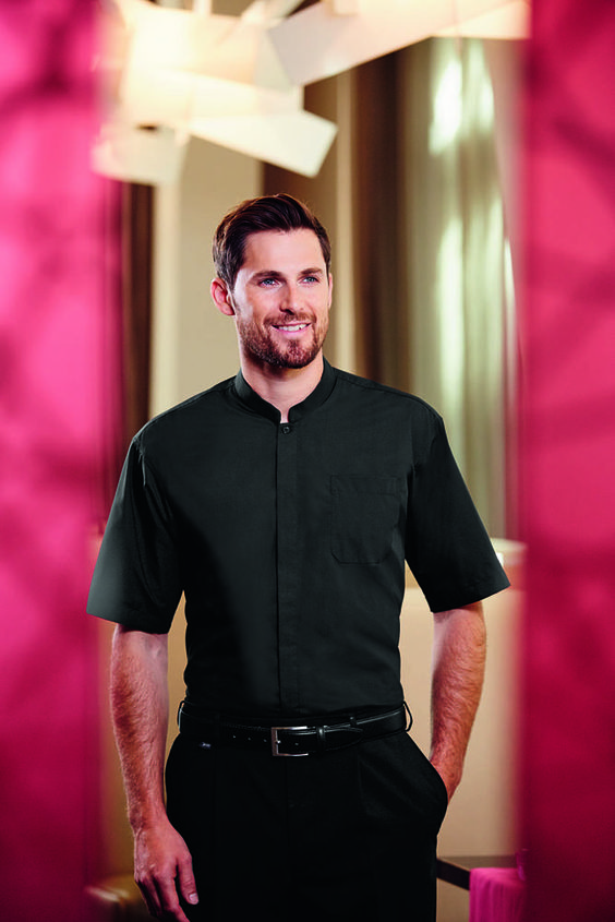 A clean and classic monochrome palette never goes out of style. Our short sleeve mandarin collar shirt (MS0560) is easy care with concealed front button fastening with chest patch pocket, is perfect for those restaurants and dining establishments that want their staff to be stylish and comfortable, whilst keeping a touch of class.
