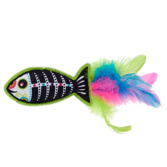 Thrills And Chills Day Of The Dead Fish Cat Toy Thrills Chills Fish Cat Toy Cat Toys Cat Plush Toy