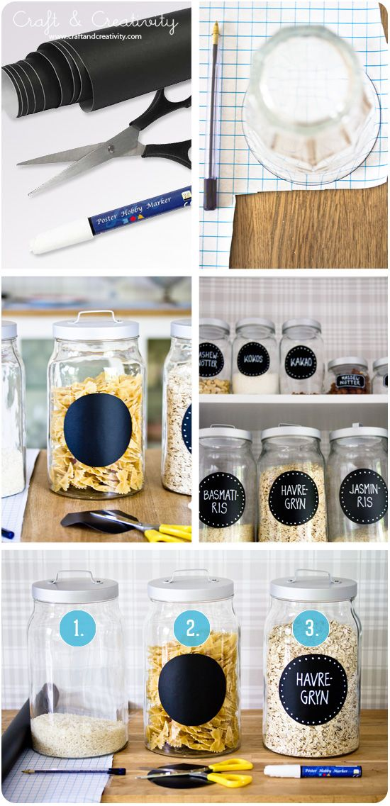 Burkar med tavelfolie – Blackboard foil on jars: