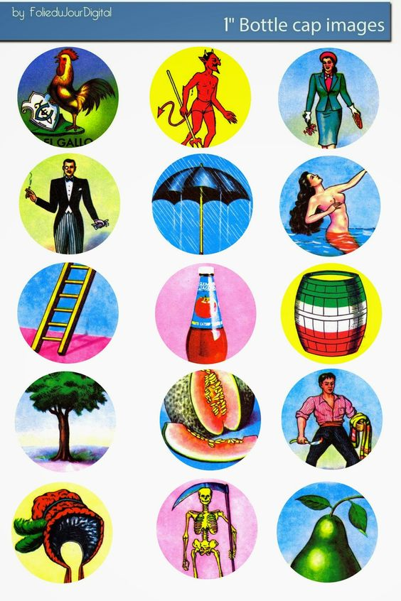 Mexican Bingo Deck Loteria Bottle deck of 54 SMALL Images