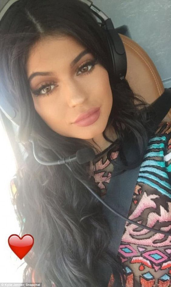 Flying in: On Sunday, Kylie Jenner posted photos and Snapchat videos from the helicopter ride to her latest birthday party in Montreal