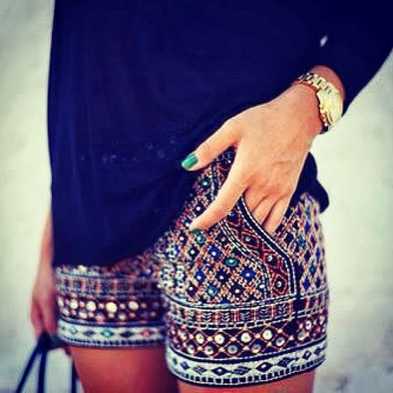 Embroidered Shorts with Stones