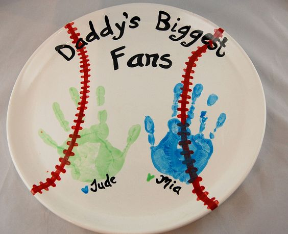 Baseball handprint platter - Fathers Day idea: