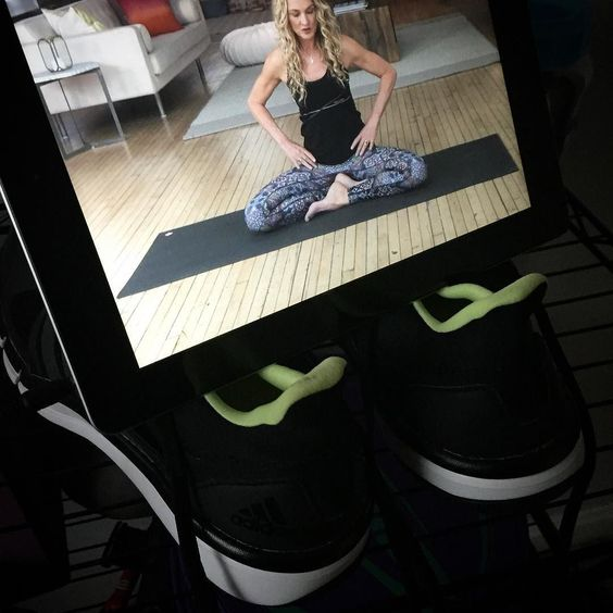 The nice thing about yoga is you don't need shoes which can serve as an iPad holder if you're at #homeworkout