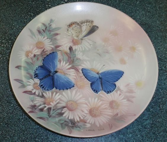 EASTERN TAILED BLUES BUTTERFLY Lena Liu ON GOSSAMER WINGS PLATE - GREAT GIFT! #CollectorPlate