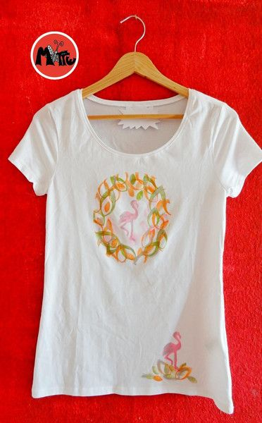 T-Shirt   ★  FLAMINGO handbedruckt von Motte by Monte Klamotte auf DaWanda.com