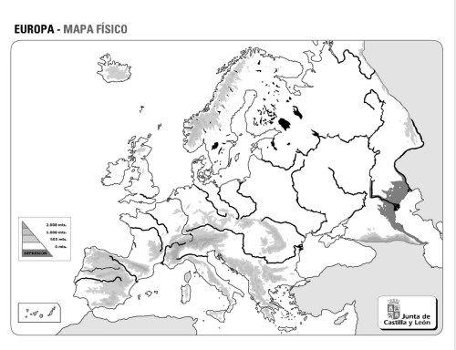 Mapa Mudo Relieve Europa.Mapas Fisicos Politicos Y Mudos De Europa Mapa Fisico De