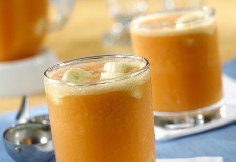 Tropical Freeze - 1  bottle (16 ounces) V8 Splash® Tropical Blend Juice Drink, chilled1  pint orange or mango sherbet or vanilla ice cream 1  cup  crushed ice 2   medium bananas, sliced