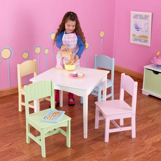 kidkraft, juego de mesa y sillas color pastel   costco mexico