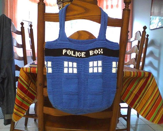 TARDIS Tote  Doctor Who by TheKnittingPirate on Etsy, $ 50.00