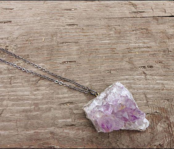 Amethyst Geode Rock Necklace