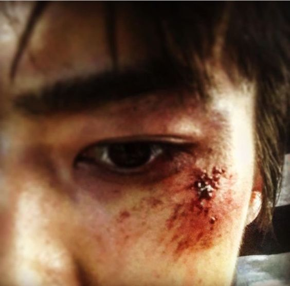 """Sehun's make-up for his new movie """"Catman"""""""